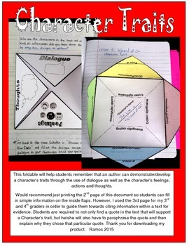 Common Core Character Trait Foldable (Evidence/Paraphrase)
