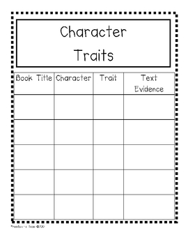 Common Core Character Traits Form *Reading Journal* Use Text Evidence