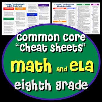 "Common Core ""Cheat Sheets"" - ELA & Math - Eighth Grade"