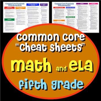 "Common Core ""Cheat Sheets"" - ELA & Math - Fifth Grade"