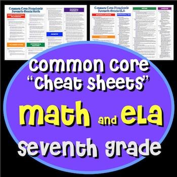 "Common Core ""Cheat Sheets"" - ELA & Math - Seventh Grade"