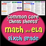 "Common Core ""Cheat Sheets"" - ELA & Math - Sixth Grade"