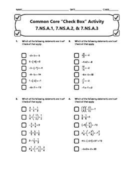 Common Core Check Box Activity - 7.NS.A.1, 7.NS.A.2, & 7.NS.A.3