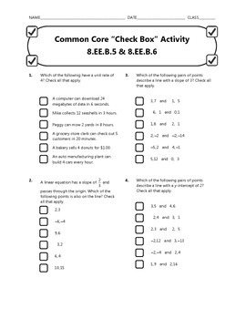 Common Core Check Box Activity - 8.EE.B.5 & 8.EE.B.6