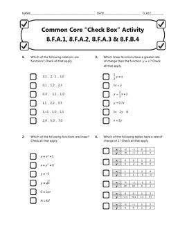 Common Core Check Box Activity - 8.F-A.1, 8.F.A.2, 8.F.A.3