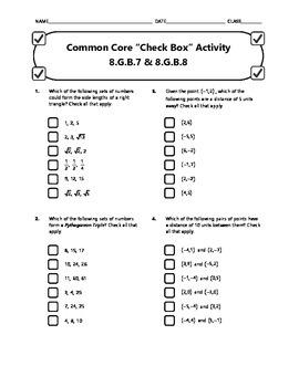 Common Core Check Box Activity - 8.G.B.7 & 8.G.B.8