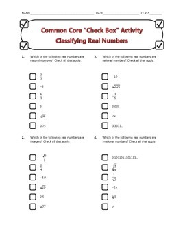 Common Core Check Box Activity - Classifying Real Numbers