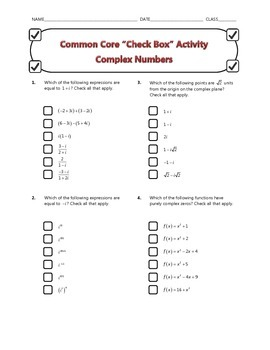 Common Core Check Box Activity - Complex Numbers