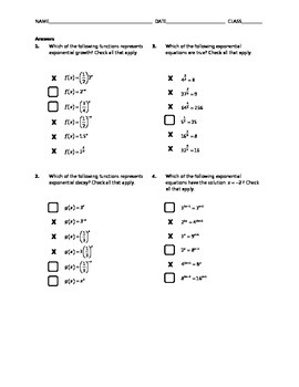 Common Core Check Box Activity - Exponential Functions