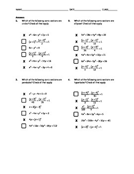 Common Core Check Box Activity - Identifying Conic Sections
