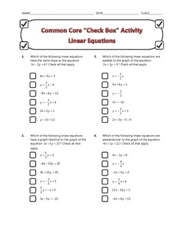 Common Core Check Box Activity - Linear Equations