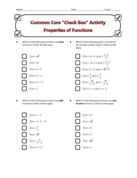 Common Core Check Box Activity - Properties of Functions