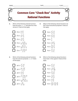 Common Core Check Box Activity - Rational Functions