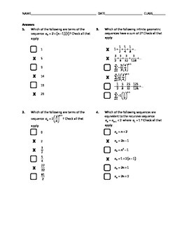 Common Core Check Box Activity - Sequences and Series