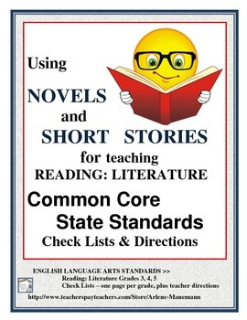 Common Core Check Lists~ ELA 3,4,5 Reading: Literature Check Lists