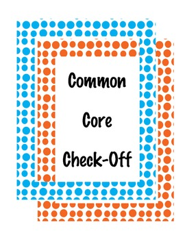 Common Core Check Off for First Grade
