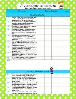 Common Core ELA & Math Checklist Bundle for 2nd grade (Portrait)