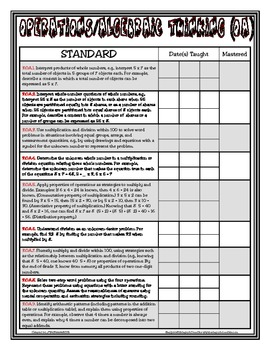 Common Core Checklist - 3rd Grade - Math