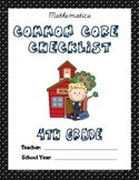 Common Core Checklist - 4th Grade - MATH: POLKA DOT EDITION