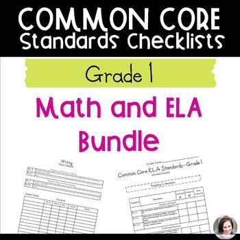 Common Core Checklist Bundle - Math and ELA - Grade 1