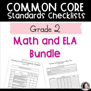 Common Core Checklist Bundle - Math and ELA - Grade 2