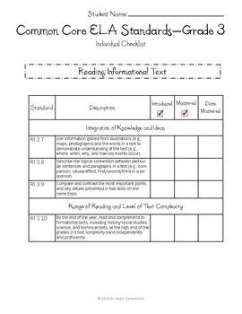 Common Core Checklist Bundle - Math and ELA - Grade 3