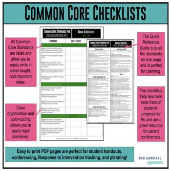 Grade 4 ELA Common Core Checklist