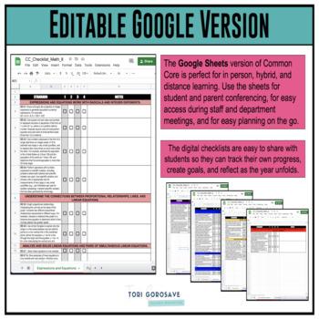Grade 8 Math Common Core Checklist