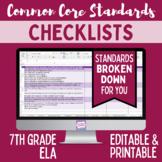 Common Core Checklist - Seventh Grade ELA
