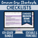 Common Core Checklist - Sixth Grade