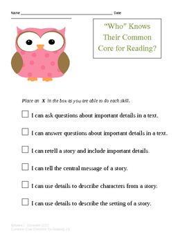 Common Core Checklist for 1st grade reading.