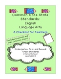 Common Core Checklist for Teachers: K-2 ELA