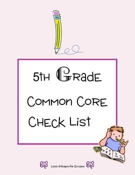 Common Core Checklist/5th Grade ELA