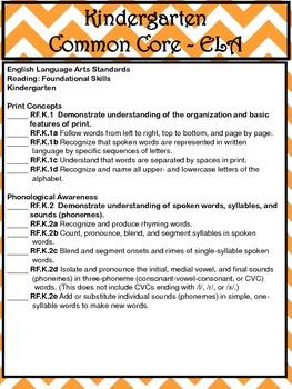 Common Core Checklists K-5 - Beautiful Orange Chevron