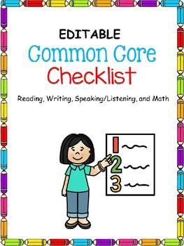 Common Core Checklists (Kindergarten)