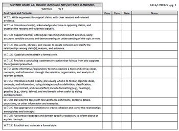 Common Core Checklists – Seventh Grade English/Language Arts