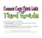 Common Core Checklists for Third Grade