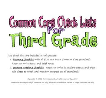 Common Core Checklists for Third Grade