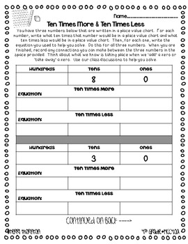 Common Core Choice Board: Numbers & Operations Base Ten