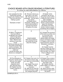 Common Core Choice Board for Middle School Reading Students