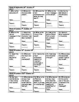 Common Core Choice Menu Homework (1 month)
