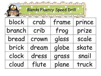 """Common Core: Christmas """"Blends"""" Speed Drill"""