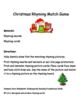 Common Core: Christmas Rhyming Match Game
