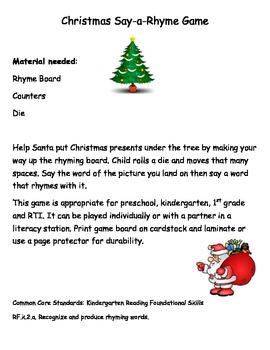 Common Core: Christmas Say-a-Rhyme Game