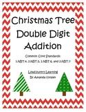 Common Core Christmas Tree Double Digit Addition - CCSS 1.NBT.4 & 2.NBT.5,6,7