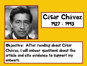 Common Core Citing Evidence Cesar Chavez Biography PPT