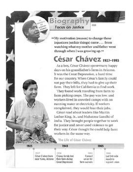 Common Core Citing Evidence Cesar Chavez Text and Study Guide | TpT