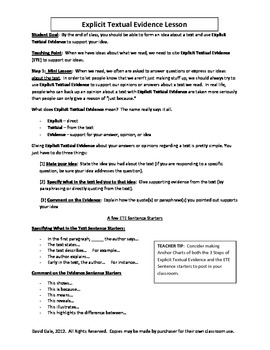 Citing Textual Evidence Practice Worksheets & Teaching ...