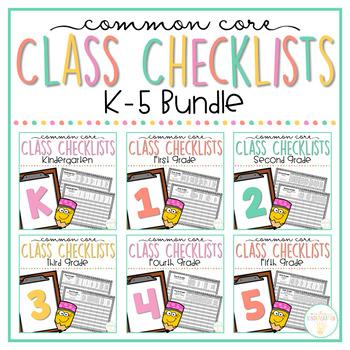 Common Core Class Checklist: K-5th Grade Bundle