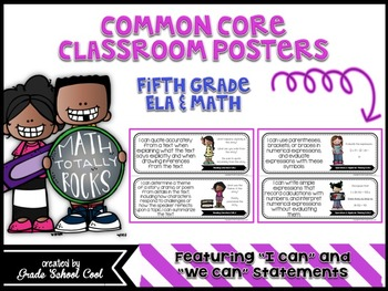 Common Core Classroom Posters: Fifth Grade: ELA & Math